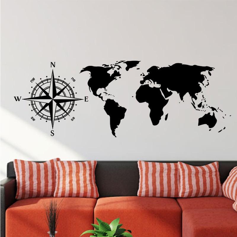 Personnalisé créatif boussole autocollants vinyle salon chambre fond carte du monde mur autocollant grande taille bricolage carte
