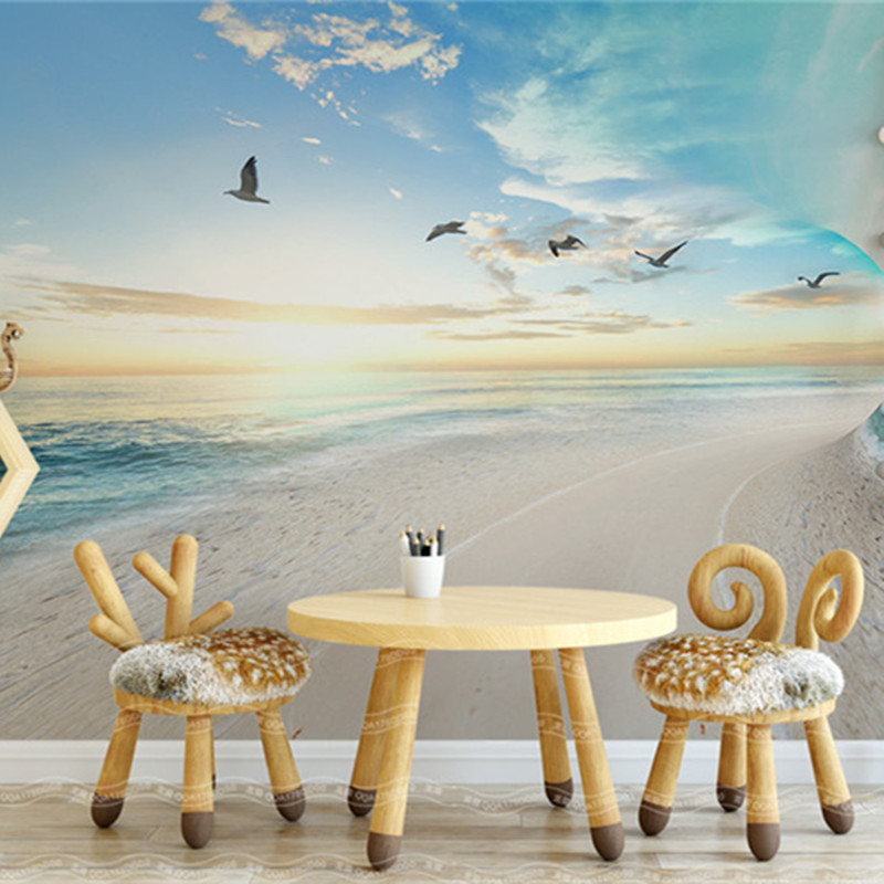 Nature Landscape Wallpapers 3D Custom Murals Simple Wallpapers Photo Sea Seagull Blue Sky Scenery Walls Papers for Living Room blue sky чаша северный олень