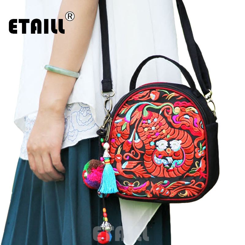 ETAILL Small Chinese Hmong Flower Thailand Embroidered Bags Ethnic Womens Vintage Shoulder Casual Floral Embroidery Bag