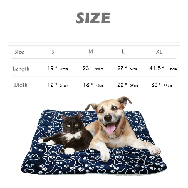 Winter Dog Bed Mat Pet Cushion Blanket Warm Paw Print Puppy Cat Fleece Beds For Small Large Dogs Cats Pad Chihuahua Cama Perro 5