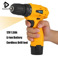 Rechargeable Lithium Battery Electric Screwdriver Kit 12V Cordless Drill Power Tools Multi function 10mm Chuck Drill Screwdriver