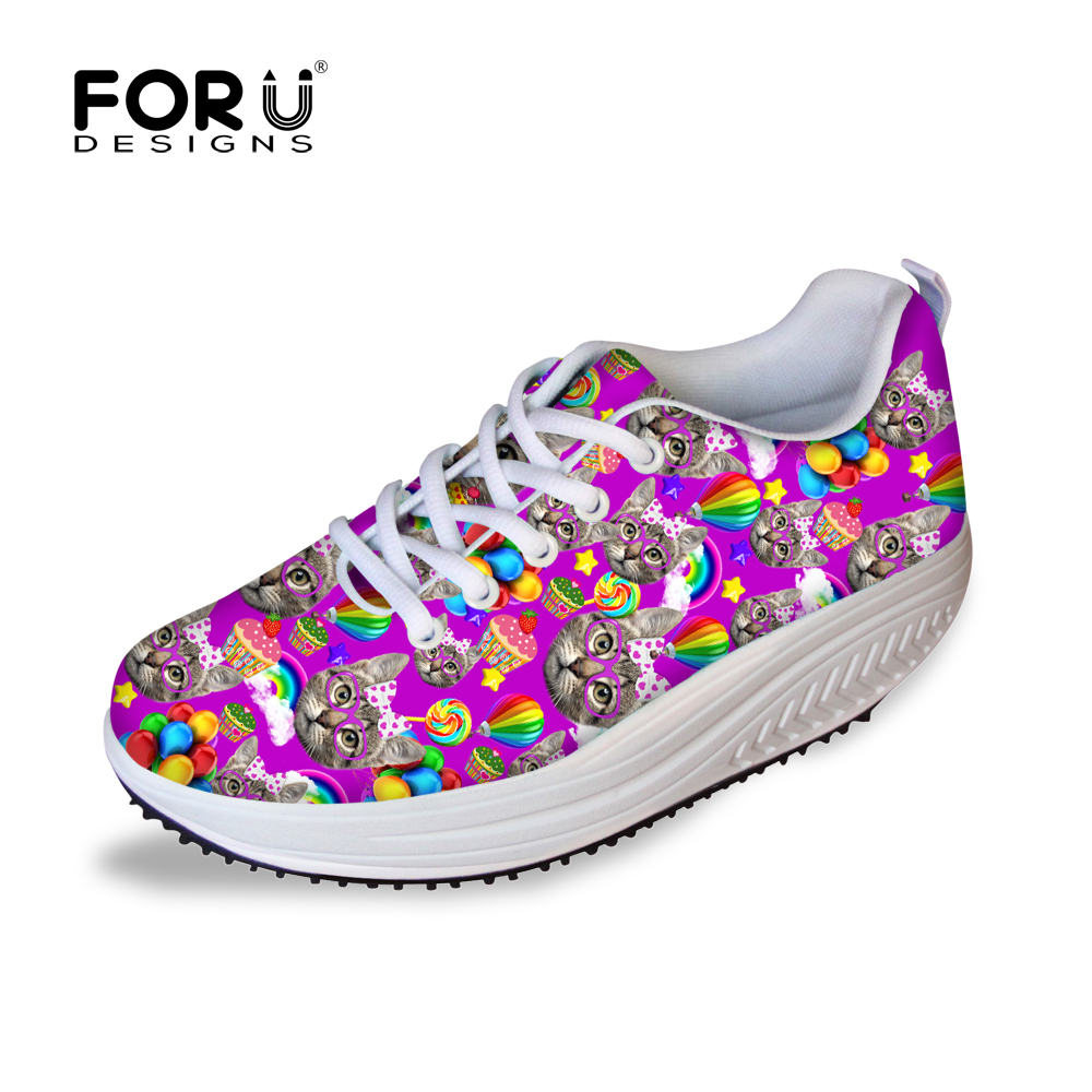 Women Slimming Swing Shoes Cute Cat Printed Lady Weight Lose Shoes Casual Female Heath Body Fitness Shoes Womens Platform Shoes