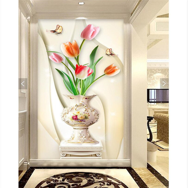 Home Decor wall paper 3d art mural HD simple white vase of red ...