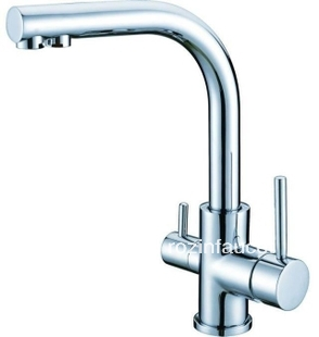 ФОТО Chrome Finish Single Hole Kitchen Faucet Pure Water Filter 2 Handles Mixer Tap