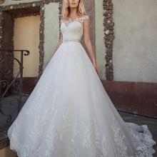 Loverxu Sexy Cap Sleeve Wedding Dresses 2019 Court Train