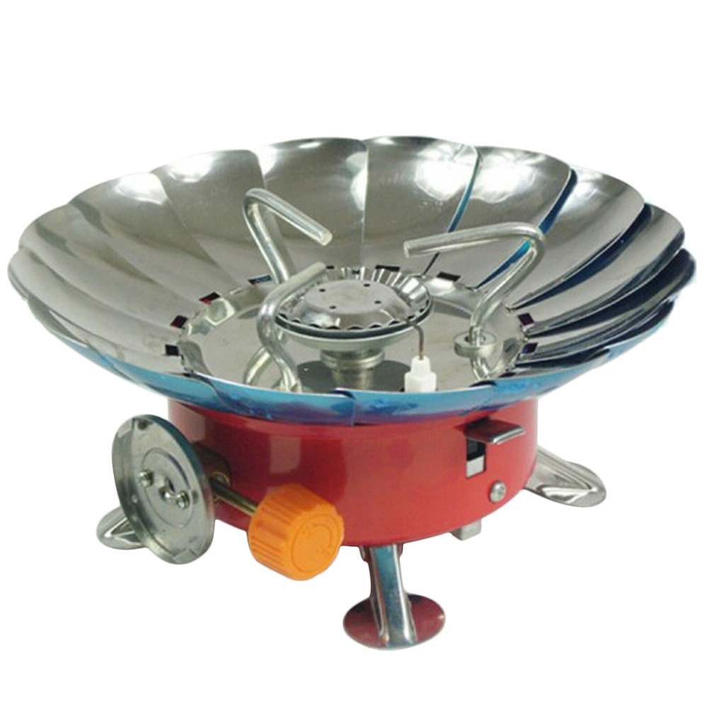 Portable Folding Lotus Style Windproof Outdoor Butane Gas Stove Head Camping Cooking Equipment Cooking Tool
