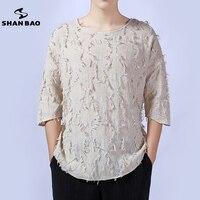 SHAN BAO marque de haute qualité linge de luxe hommes loisirs manches t-shirt 2017 automne nouveau garnitures designer col rond t-shirt