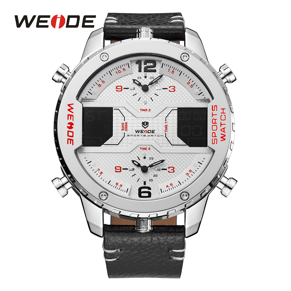WEIDE Mens Watch Three Time Zone Analog Digital Calendar Date Day Quartz Movement Leather Band Strap Buckle Sport Wristwatches weide men watches clock analog quartz movement calendar date black leather strap band buckle hardlex wristwatches for sport