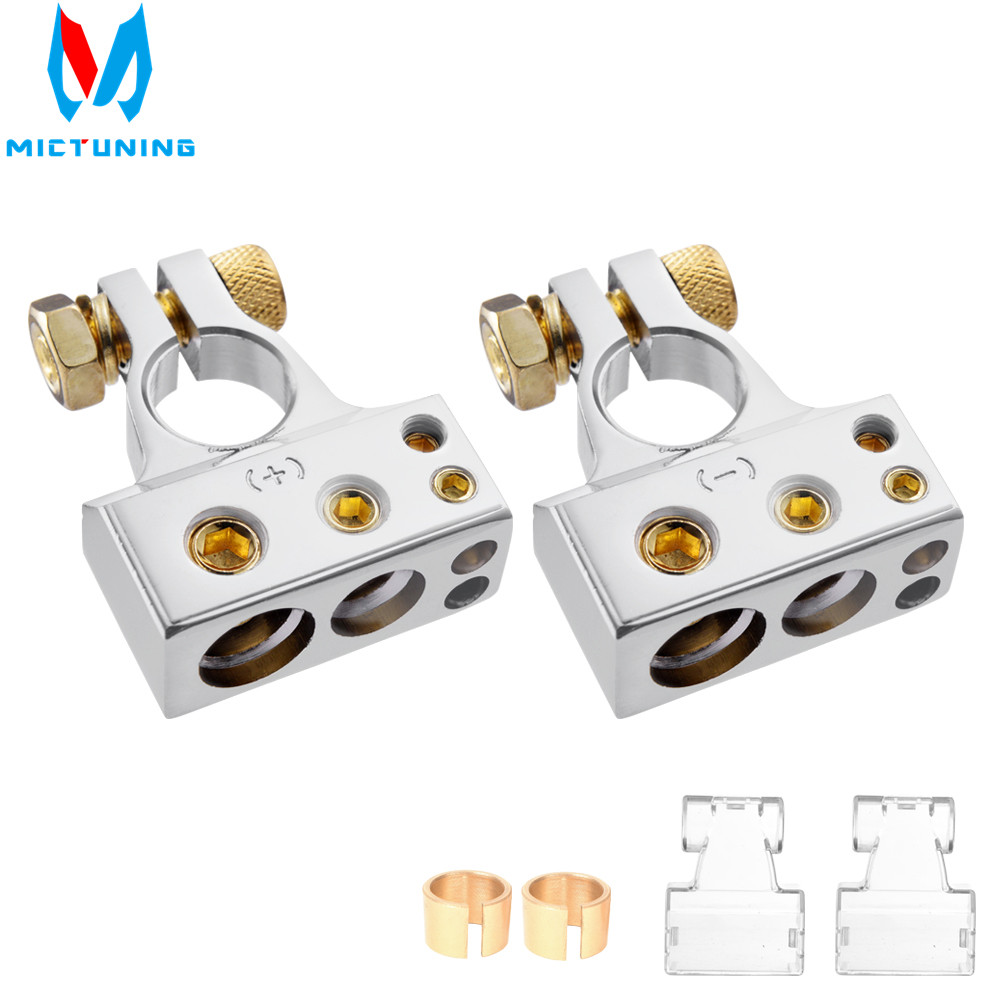 2//4//8//10 AWG Gauge Car Battery Terminal Connectors Kit Positive /& Negative Clamp