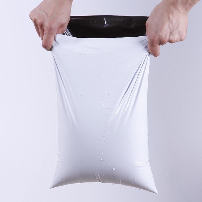 50 unidades/lotes branco saco de correio expresso envelope sacos de armazenamento saco de correio sacos de correio auto adesivo selo plástico embalagem bolsa