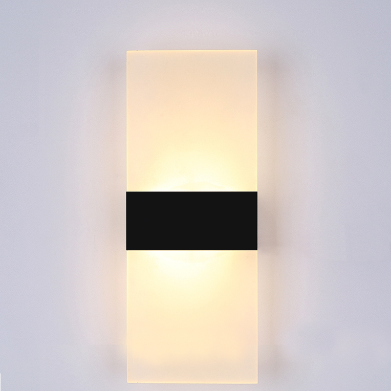 Modern led wall light bedroom black white acrylic wall lamp high modern led wall light bedroom black white acrylic wall lamp high quality ac90 260v indoor led wall sconce home lighting fixture in wall lamps from lights aloadofball Image collections
