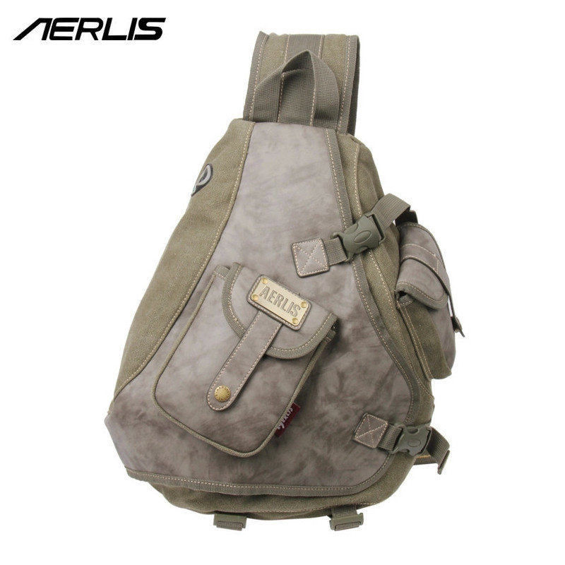 AERLIS Brand Men Vintage Messenger Bag Casual Mens Canvas Leather Sling Bag Shoulder Cross Body Chest Pack Bag 6215 рюкзак aerlis ae1030