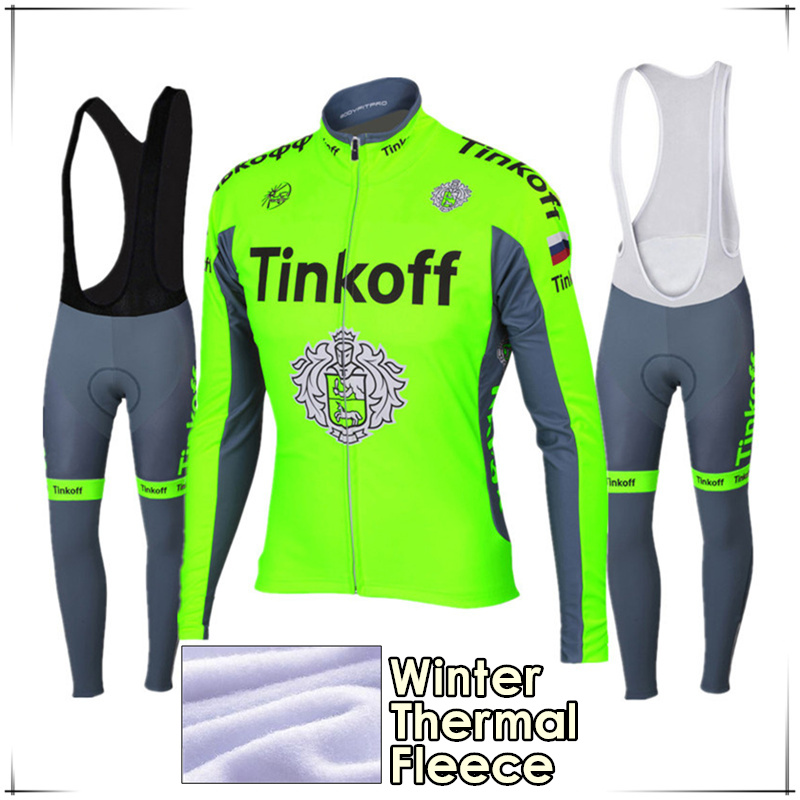 2017 Maillot Ropa Ciclismo Invierno Tinkoff Winter Cycling Jersey Thermal Fleece Long Sleeve Cycling Clothing Set MTB Bike Wear chic quality warmth thermal fleece base layer cycling long sleeve jersey for unisex