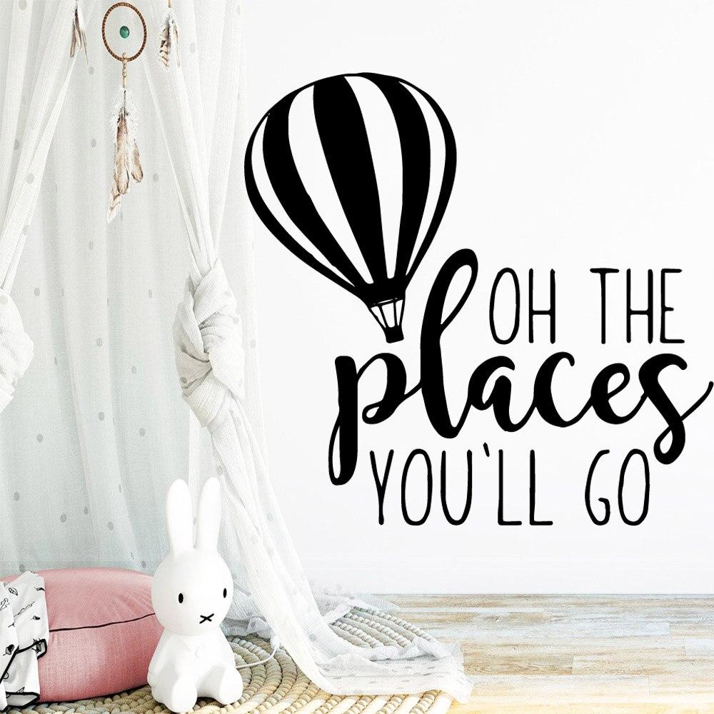 Esculpida os lugares que você vai citações adesivo de parede casa decoração acessórios para sala de estar crianças murais wallpaer