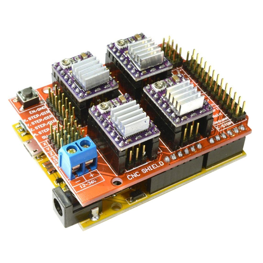 CNC V3 Shield + UNO R3 Compatible Board + 4x TI DRV8825 StepStick Stepper Drivers Red+purple cnc shield expansion board v3 0 4pcs a4988 drv8825 stepper motor driver with heatsink with uno r3 board for arduino kits