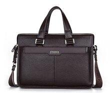 "Quality 100% First Layer Genuine Leather Men Messenger Bags Business Portfolios Briefcase 15.6"" Laptop Shoulder Bag #VP-P112811"