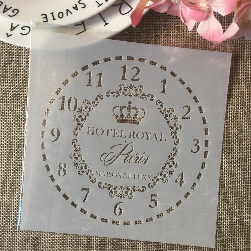 6*6inch Clock Paris Dial DIY Layering Stencils Painting Scrapbook Coloring Embossing Album Decorative Card Template