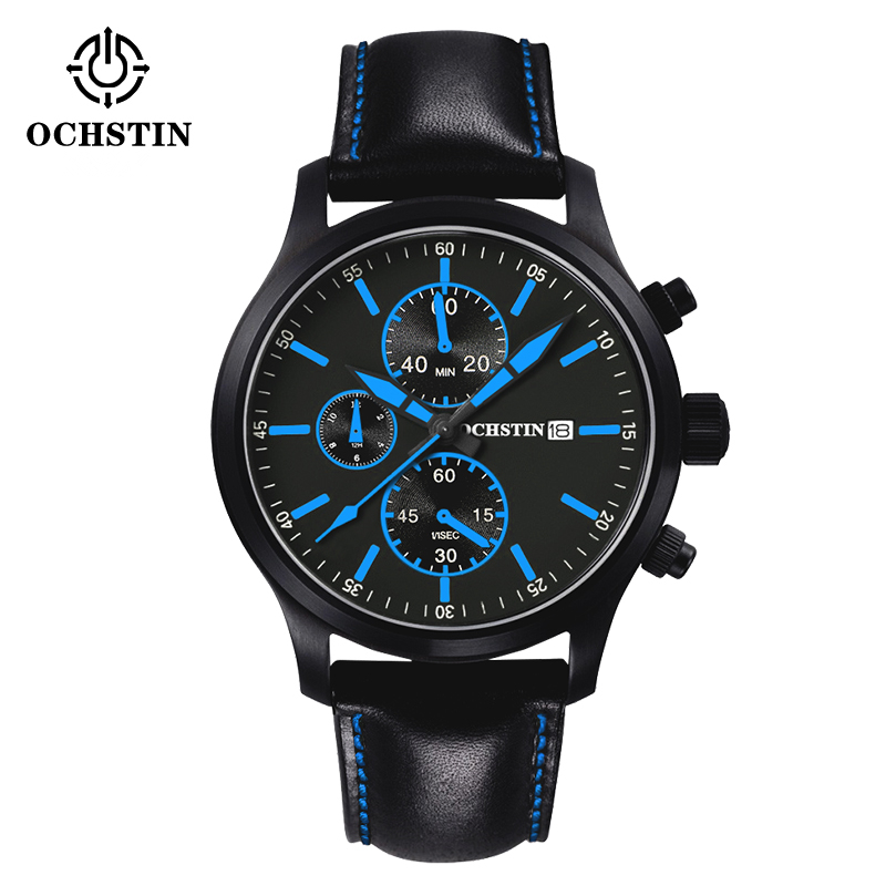 OCHSTIN Men Fashion Casual Watches Waterproof Luxury Brand Black Leather Quartz Watches Relogio masculino Clock male Wristwatch 2017 luxury brand wishdiot fashion leather strap multifunction watches men quartz clock waterproof wristwatch relogio masculino