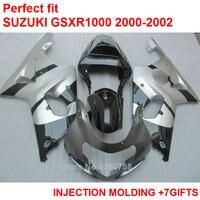 Tanie wtryskiwania fairing zestaw do Suzuki GSXR1000 2000 2000 2001 2002 srebrny czarny fairings GSXR1000 00 01 02 MY68