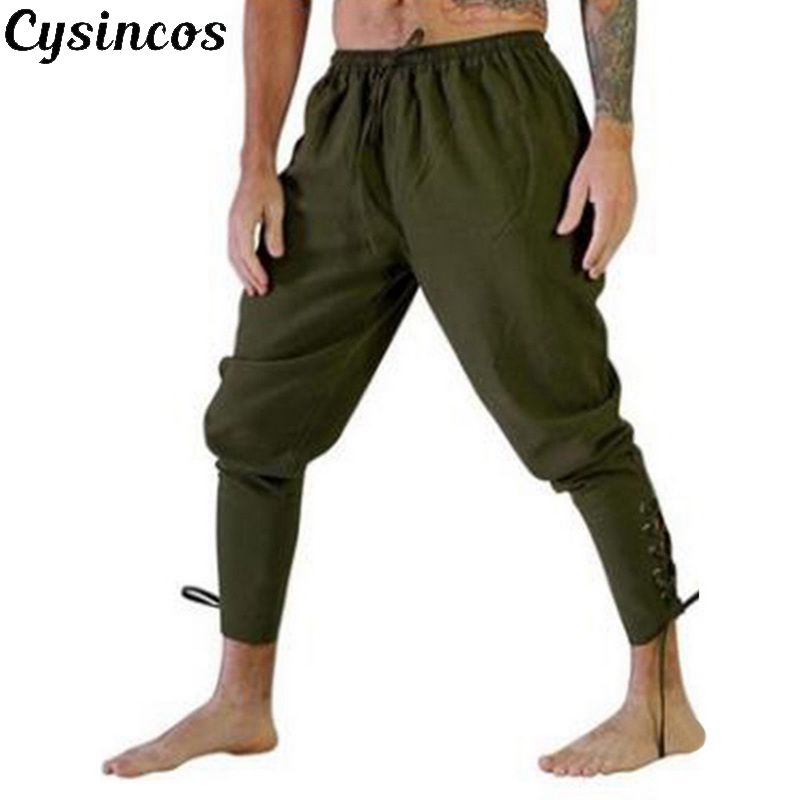 CYSINCOS Men Loose Pants Halloween Medieval Renaissance Pirate Horseman Cosplay Costume   Leg Bandage Trouser