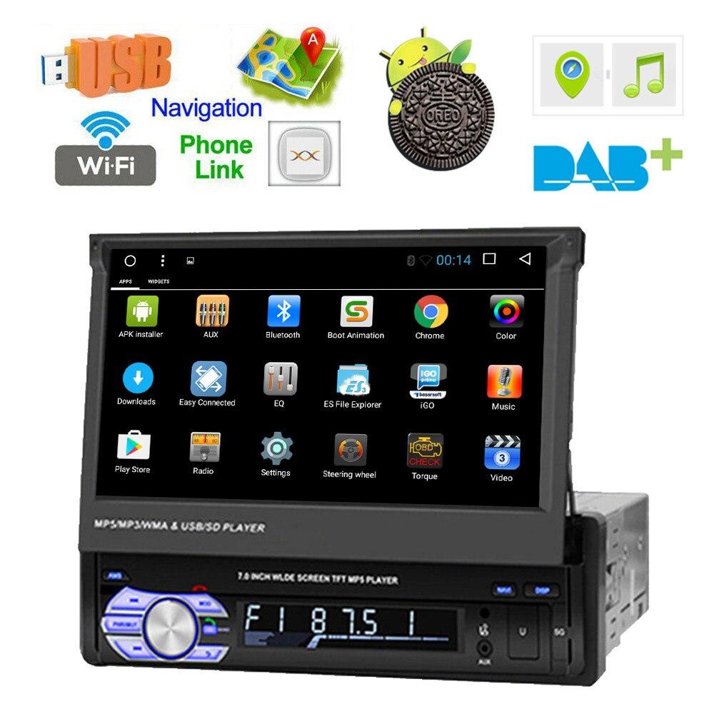 Lecteur Radio stéréo de voiture 1 Din Android 8.1 7 ''écran tactile Flip voiture GPS Navigation WiFi MP5 lecteur Audio USB SWC