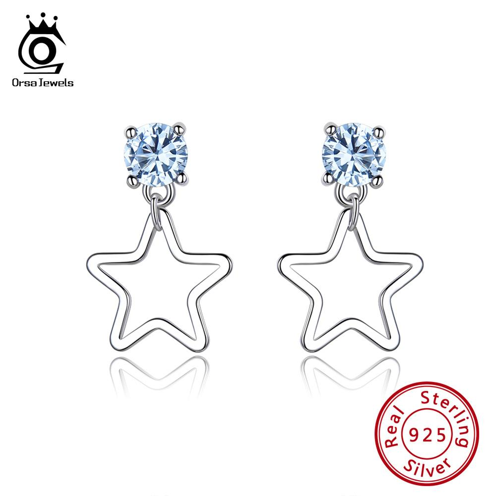 ORSA JEWELS 925 Sterling Silver Earrings Women Round Topaz Created Blue Stone Star Stud Earings Silver Fashion Jewelry OVSE13 in Earrings from Jewelry Accessories