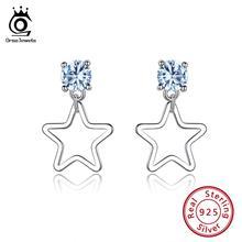 ORSA JEWELS 925 Sterling Silver Earrings Women Round Topaz Created Blue Stone Star Stud Earings Silver Fashion Jewelry OVSE13 цена