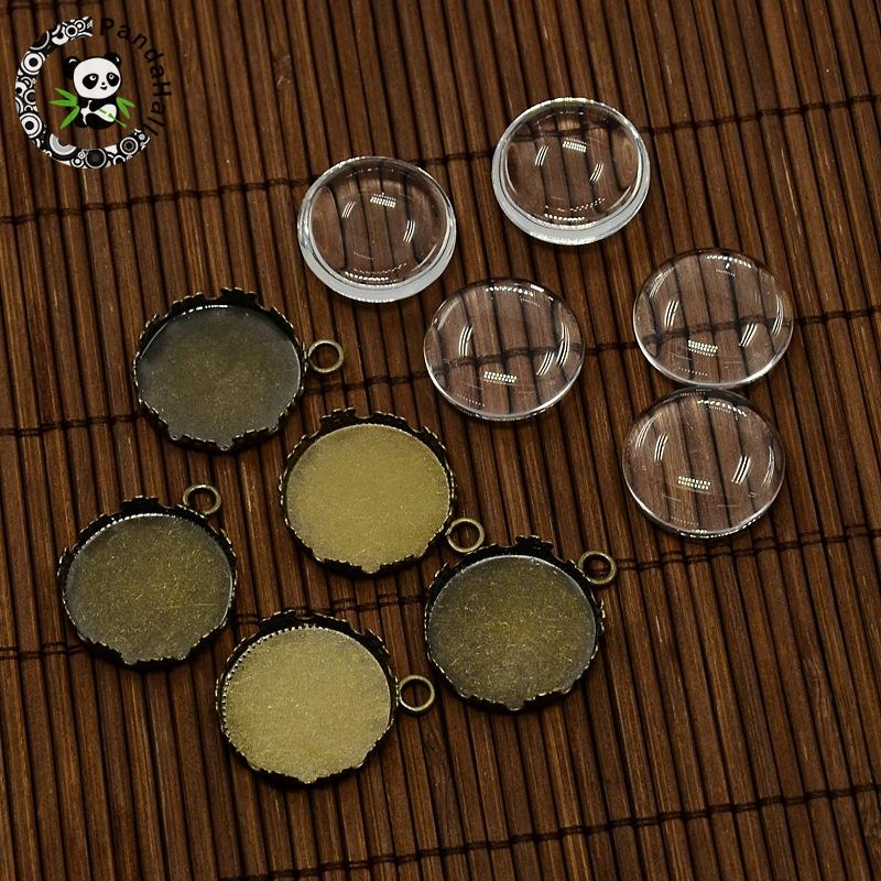 20mm Clear Domed Glass Cabochon Cover and Brass Blank Pendant Cabochon Settings for DIY Portrait Pendant Making, Nickel Free,