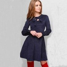 1114849066bc9 Women Suede Casual Long Sleeve Mini Velvet Dress Autumn Winter Fashion  Elegant Vintage Bow collar Party