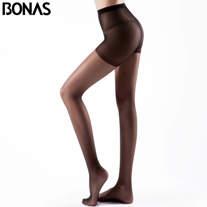 Buy BONAS Summer Black Nylon Lady Tights Women's Fashion Elasticity Spandex Tights Female Seamless Pantyhose Solid Color Soft Girl