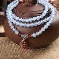 Mejores ventas de 108 rebordea los granos de rezo amarillo y azul calcedonia piedra mujeres Mala buda pulsera musulmán meditación rosario