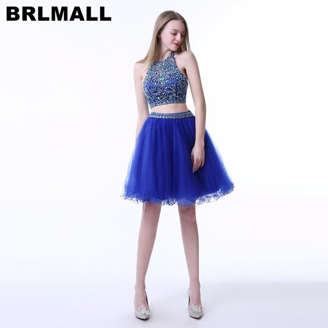 109cfa8e0e1b1 BRLMALL Kraliyet Mavi İki Adet Homecoming Elbise 2017 Halter Boncuklu ortaokul  Mezuniyet Elbise Tül Kısa Balo