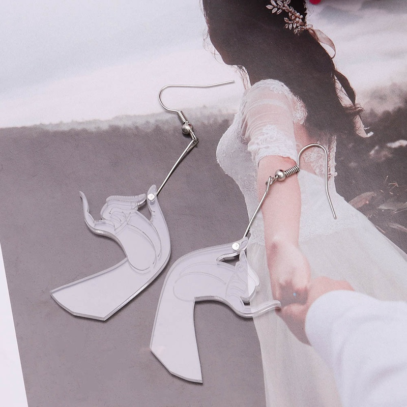 Hand Posture Bergamot 2018 New Design Fashion Acrylic Transparence Gestures Hand Dangle Earrings  Unisex Party Wedding Jewelry