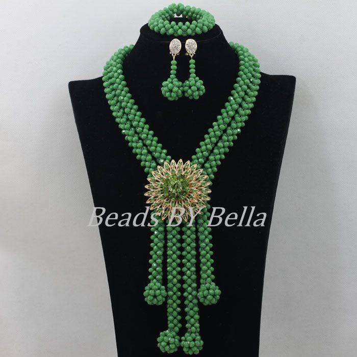 Cuentas de cristal verde de conjuntos de joyería Africana traje collar nigeriano boda Africana perlas envío gratuito juego de joyería ABF405