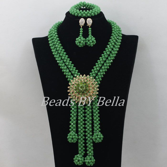 Green Crystal Beads Bridal Jewelry Sets African Costume Necklace Nigerian Wedding African Beads Jewelry Set Free Shipping ABF405 amazing red nigerian wedding african beads jewelry set costume african jewelry sets bridal beads necklace free shipping abl001