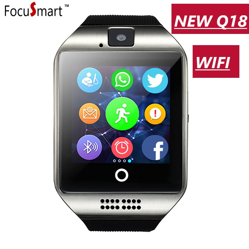 FocuSmart 2018 Q18 WIFI Passometer Smartwatch Touch Screen camera TF card Bluetooth WIFI 2/3G smartwatch for Android IOS IPhone