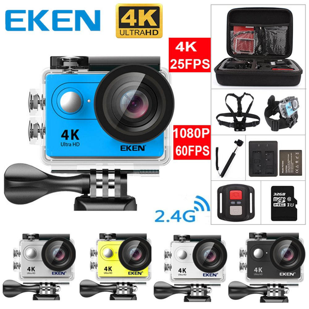 New 100% Original Eken H9 / H9R Ultra HD 4K Action Camera 30m Waterproof 2.0' Screen 1080p Sport Camera Go Extreme Pro Cam battery dual charger bag action camera eken h9 h9r 4k ultra hd sports cam 1080p 60fps 4 k 170d pro waterproof go remote camera