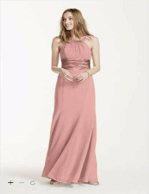 2016 Extra Length Chiffon Long 4XLF12732 Bridesmaid Dresses Halter Pleating  Bodice draped cascade detail Cheaper Gowns 369224694a5e