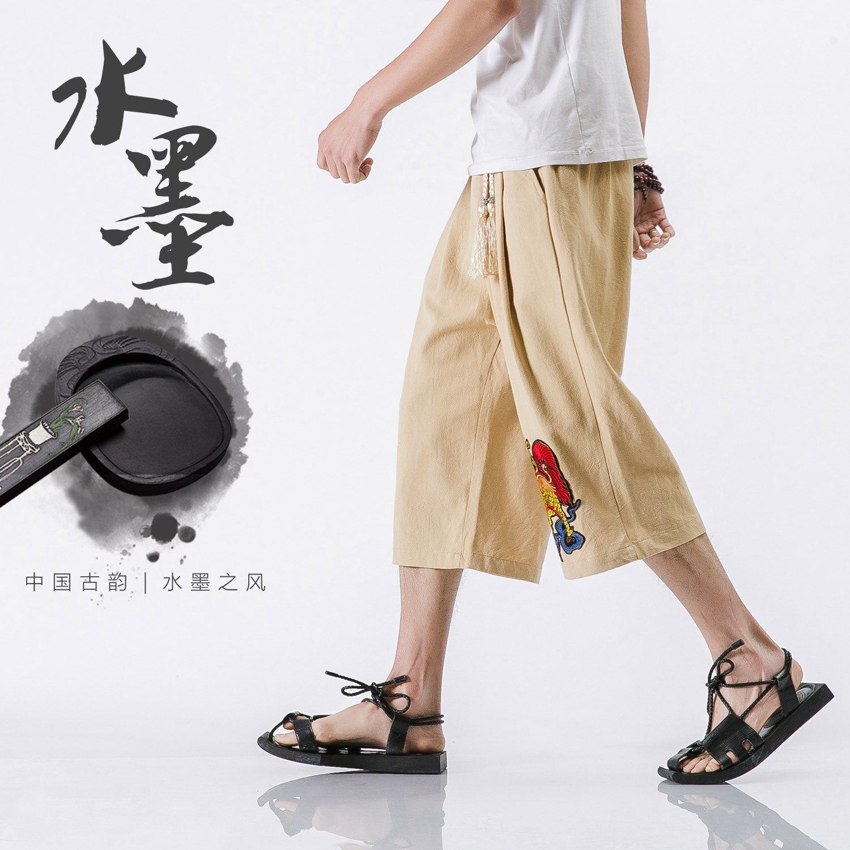 Большой Размер М-5XL Китай Единорог Вышитые Льняные Летние мужские Случайные Штаны Широкую Ногу Брюки Мужские Свободные Короткие Шаровары Брюки