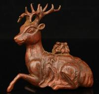 Chinese Handwork Carving Retro Red Copper Mini Sika Deer Statue Desktop Ornaments