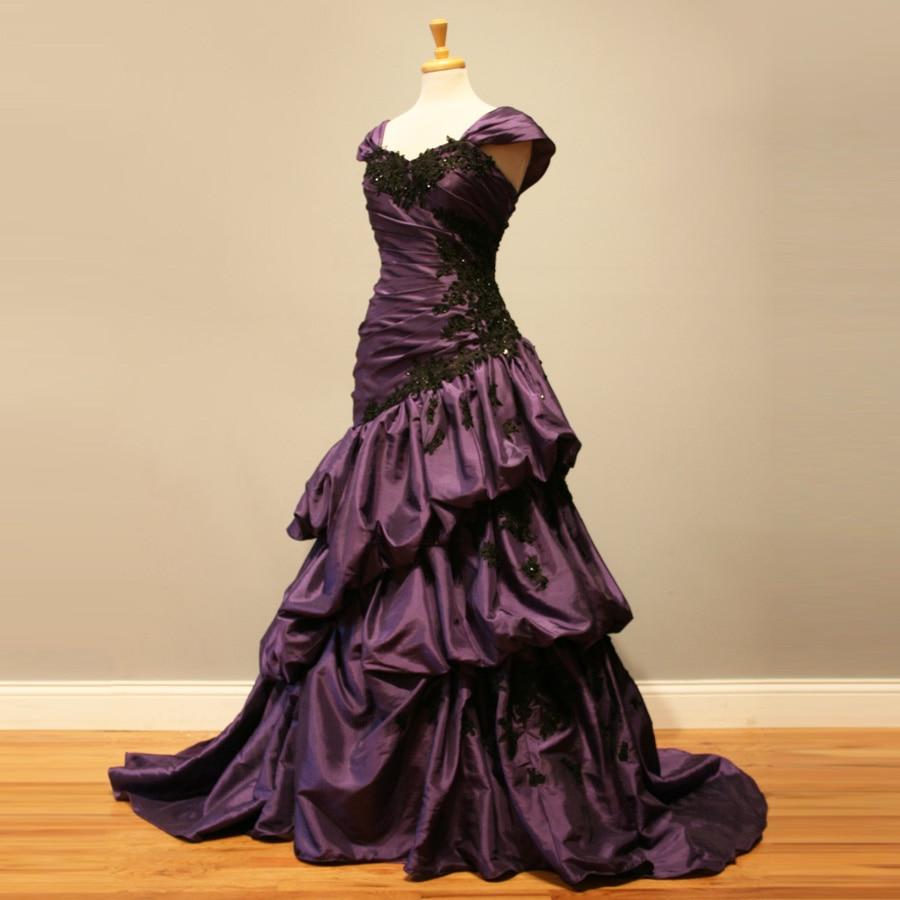 1950s Cap Sleeves Vintage Purple Wedding Dress 2017 Gothic ...