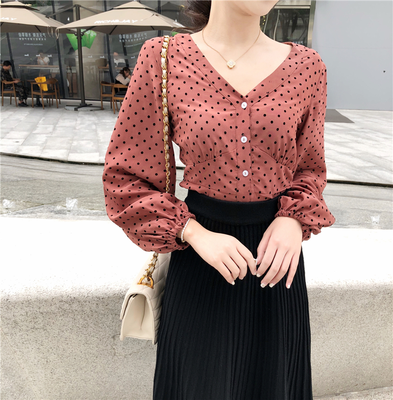 5b3be1333173 V Neck Buttons Puff Sleeve Dots Shirt Women Top Cropped Short Blouse Spring  Summer Petite Chemise