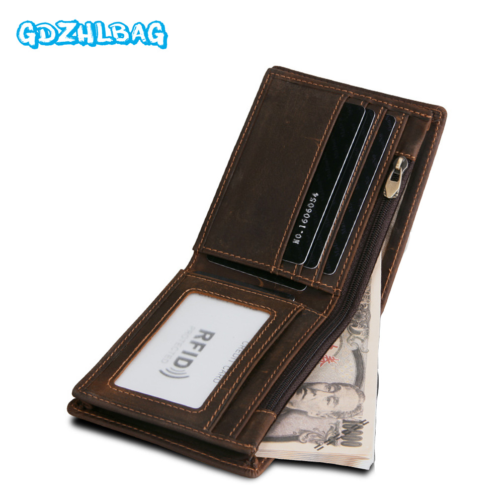 GDZHLBAG Genuine Leather Wallets Mens Leather Card Holder with Male Coin Purse for Walet Portomonee Rfid Minimalist Wallet B179