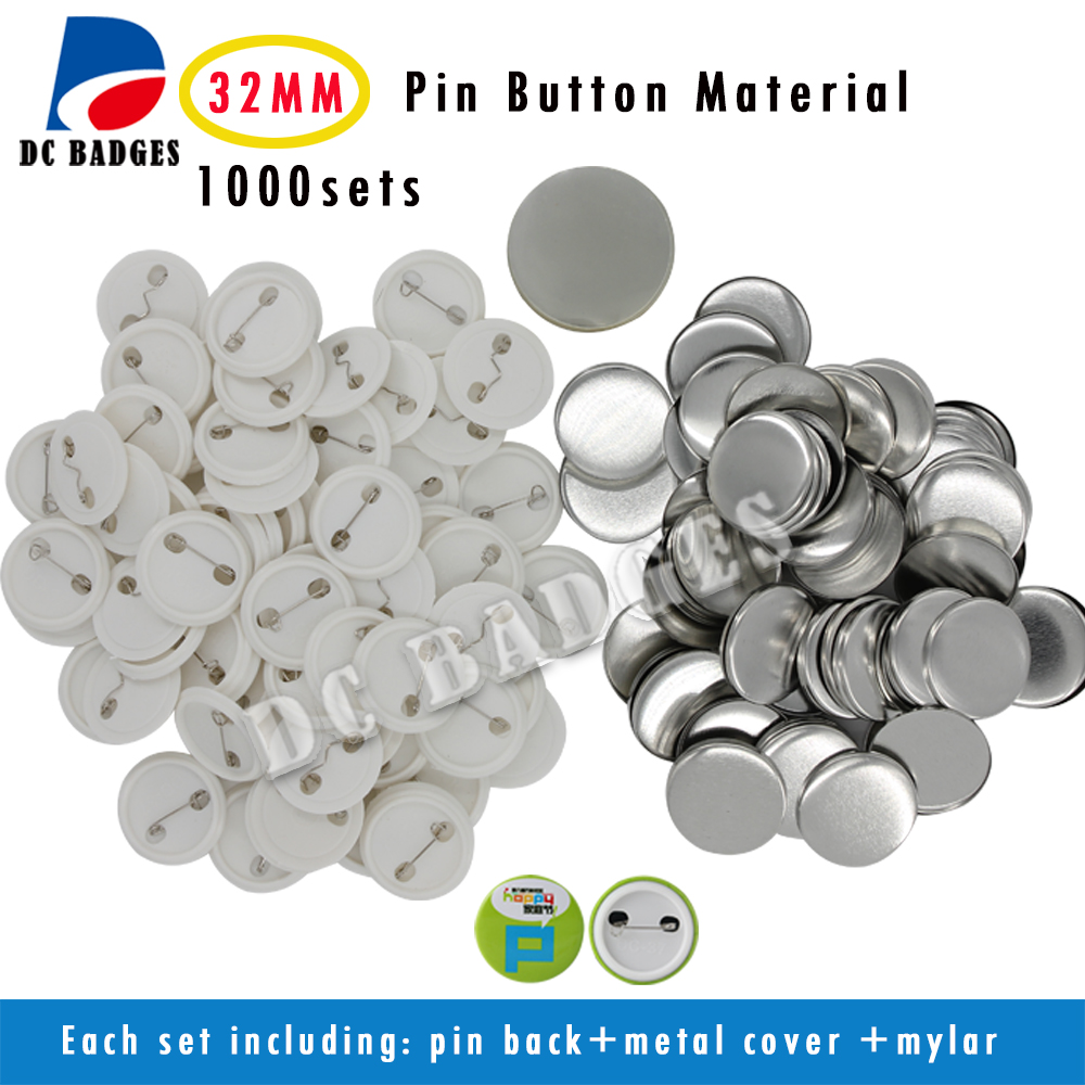 Free shipping 1.1/4(32mm) 1,000sets Plastic Pin Badge Material,Blank button parts,Tin badge components free shipping 3 75mm 200sets plastic pin badge material blank button parts tin badge components