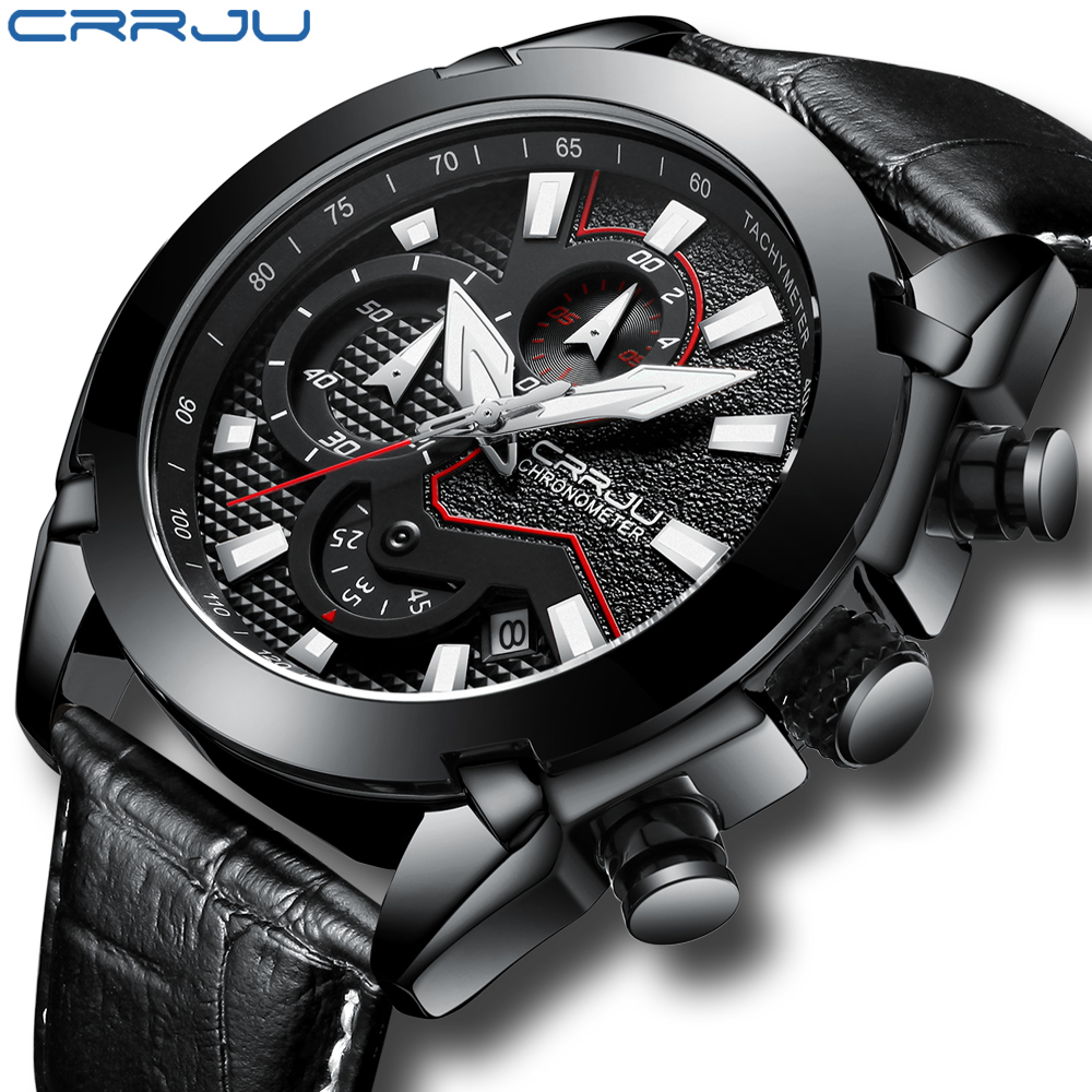 Crrju Military Sport Watch Men Top Brand Luxury Leather Army Quartz Watches Clock Men Creative Chronograph Relogio MasculinoCrrju Military Sport Watch Men Top Brand Luxury Leather Army Quartz Watches Clock Men Creative Chronograph Relogio Masculino