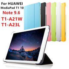 Case PU For Huawei MediaPad T1 10 Protective Smart cover Leather Tablet For HUAWEI Note 9.6 T1-A23L T1-A21L/W Protector Sleeve