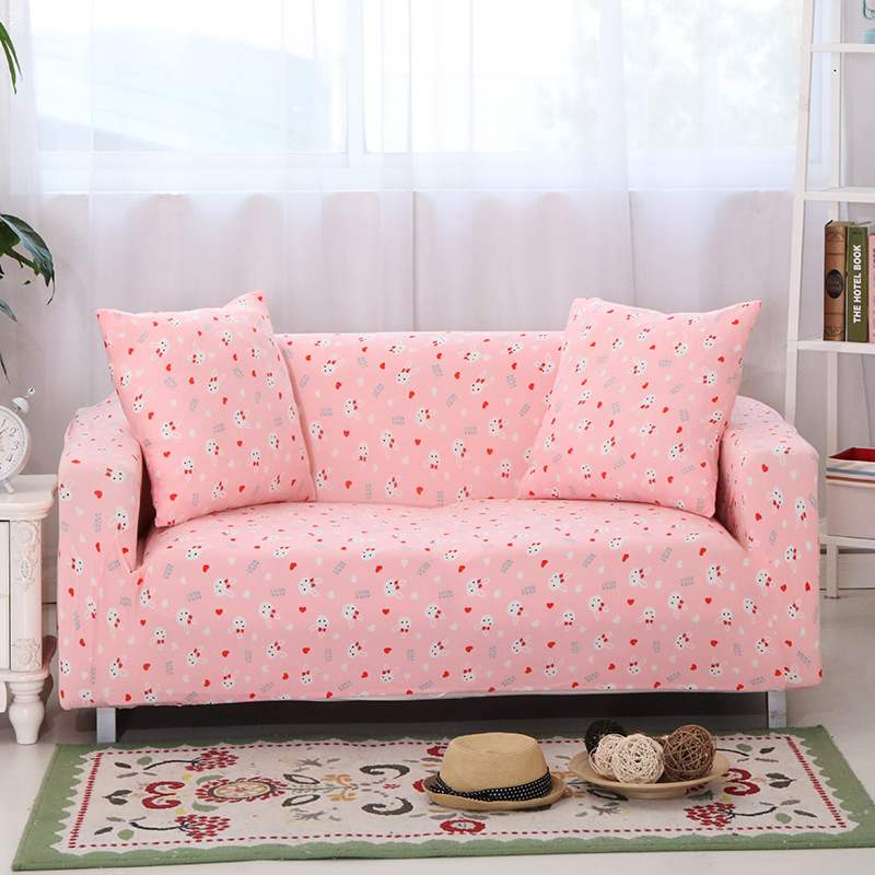 Pink Sofa Cover: SunnyRain Cartoon Pink Sofa Cover Elastic L Shaped Sofa