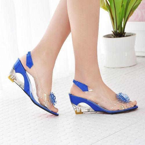 2017 Hot Sale Crystal Wedges Transparent Women high heeled Sandals Plus Size 40 43 rhinestone Peep
