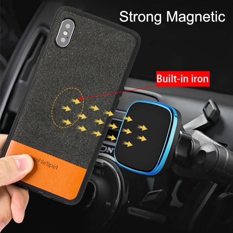 Homens de negócios caso Magnética para iphone 7 8plus 5S 6s SE tecido Titular original Do Carro à prova de choque da tampa do caso para o iphone X XR XSMAX