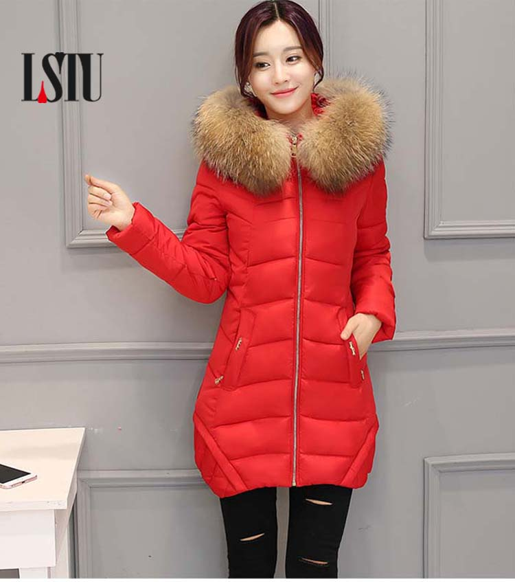 LSTU Winter Jacket Women  2017 Fashion    Cotton-padded Hooded Jacket Female Wadded Jacket  Outerwear Winter Coat Women inoe 2018 new genuine sheepskin leather sheep fur lined short ankle suede women winter snow boots for woman lace up winter shoes